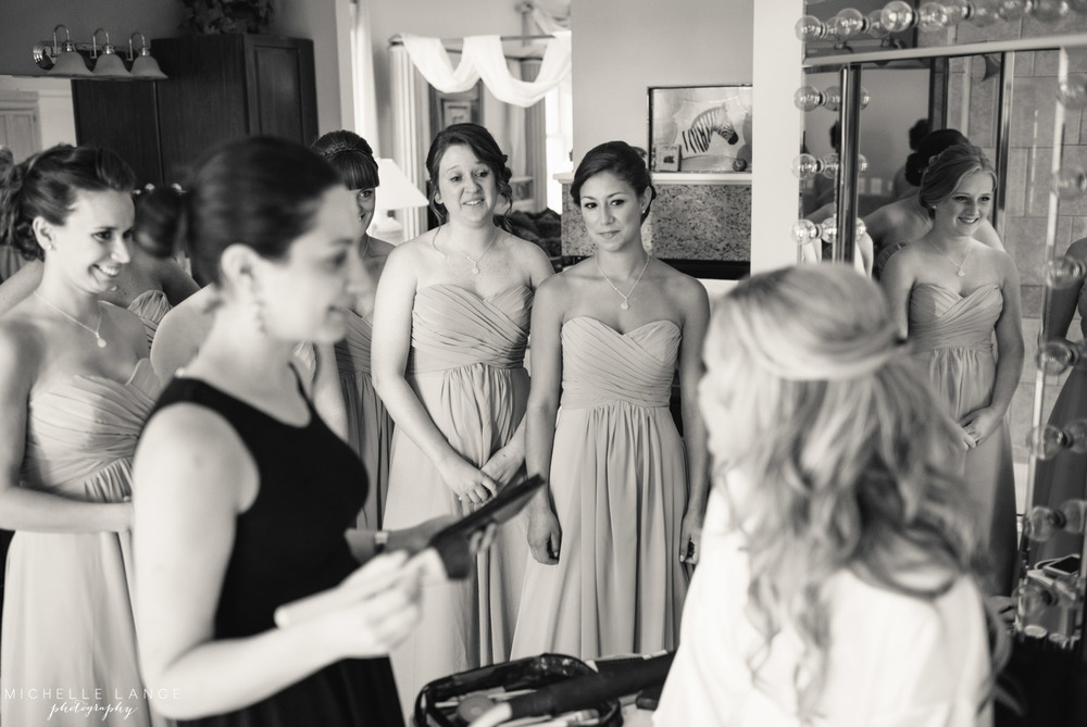 Inn at Erlowest Lake George Coral and Teal Wedding by Michelle Lange Photography 10