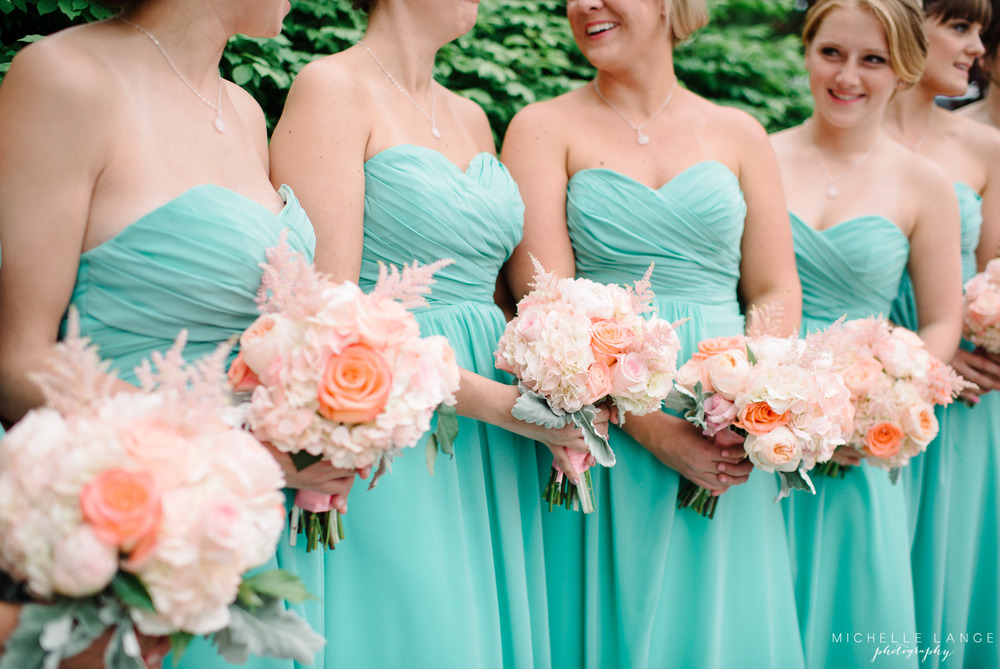 Inn at Erlowest Lake George Coral and Teal Wedding by Michelle Lange Photography 23