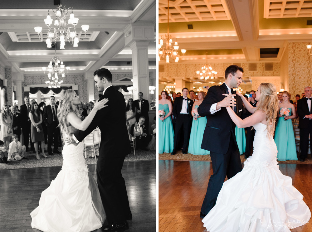 Inn at Erlowest Lake George Coral and Teal Wedding by Michelle Lange Photography 35