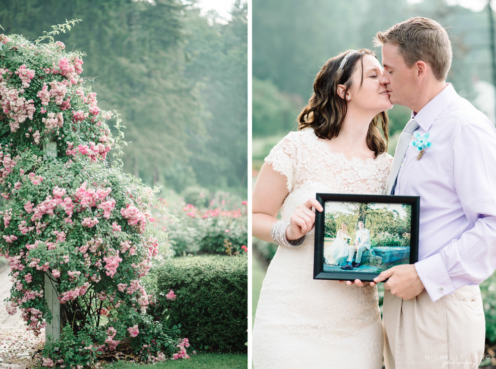 Schenectady Rose Garden Picture with a Picture Anniversary Session | Michelle Lange Photography