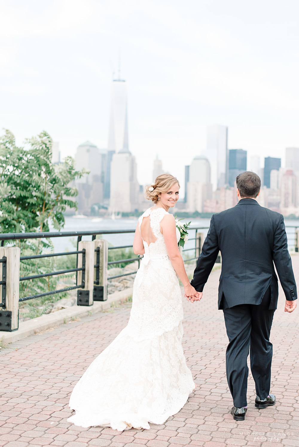 Bride in The Anne Barge Collection NYC Skyline Liberty House Jersey City Wedding.jpg