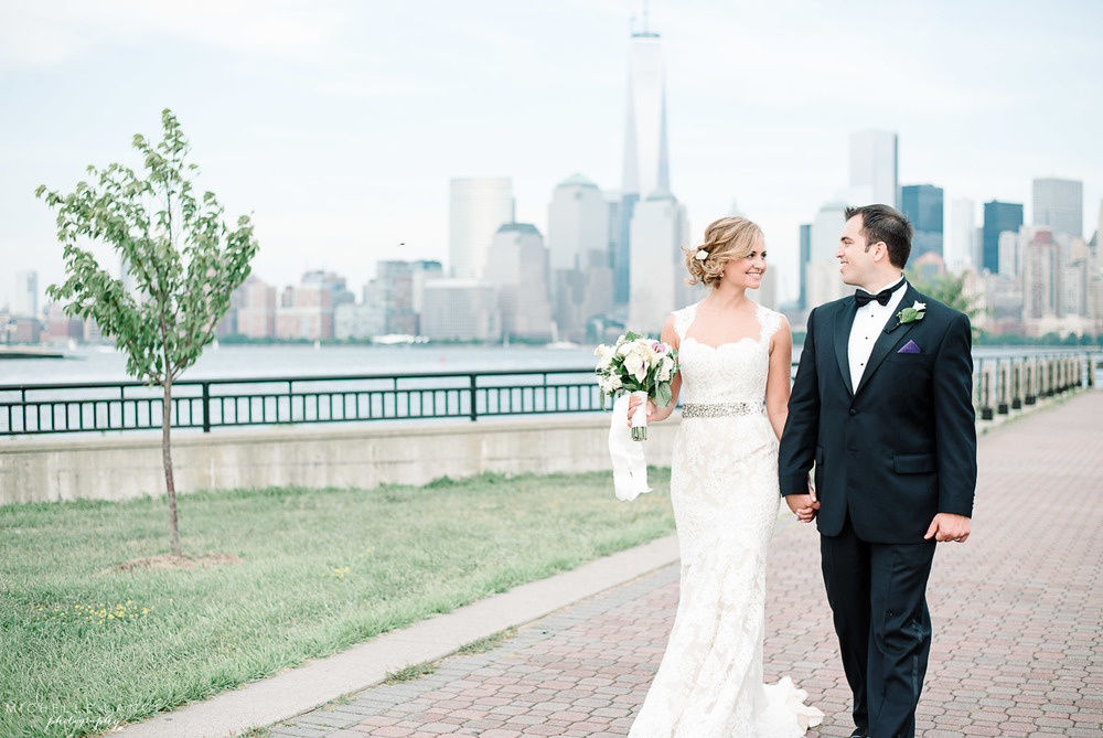 Bride and Groom Anne Barge Collection NYC Skyline Liberty House Jersey City Wedding.jpg