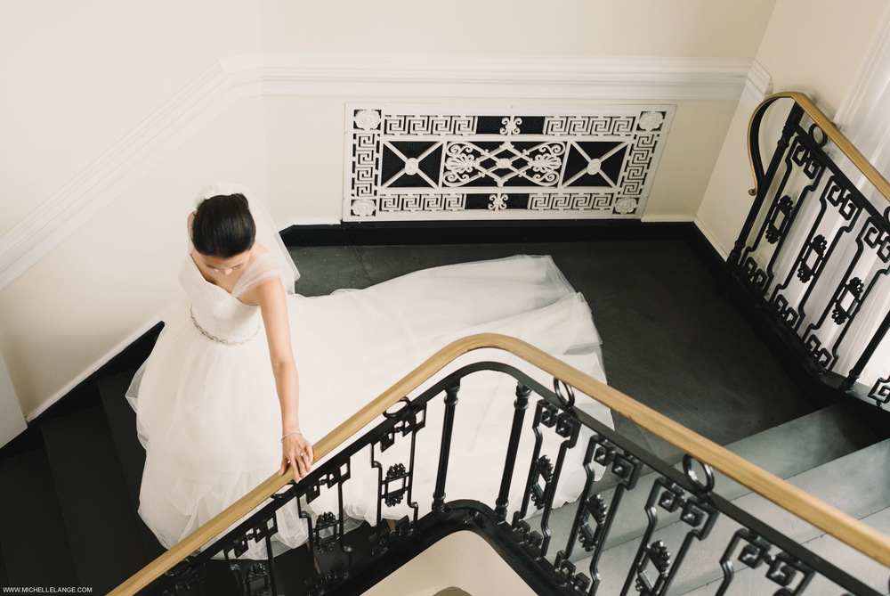 Bride and Staircase at The Carltun in Long Island