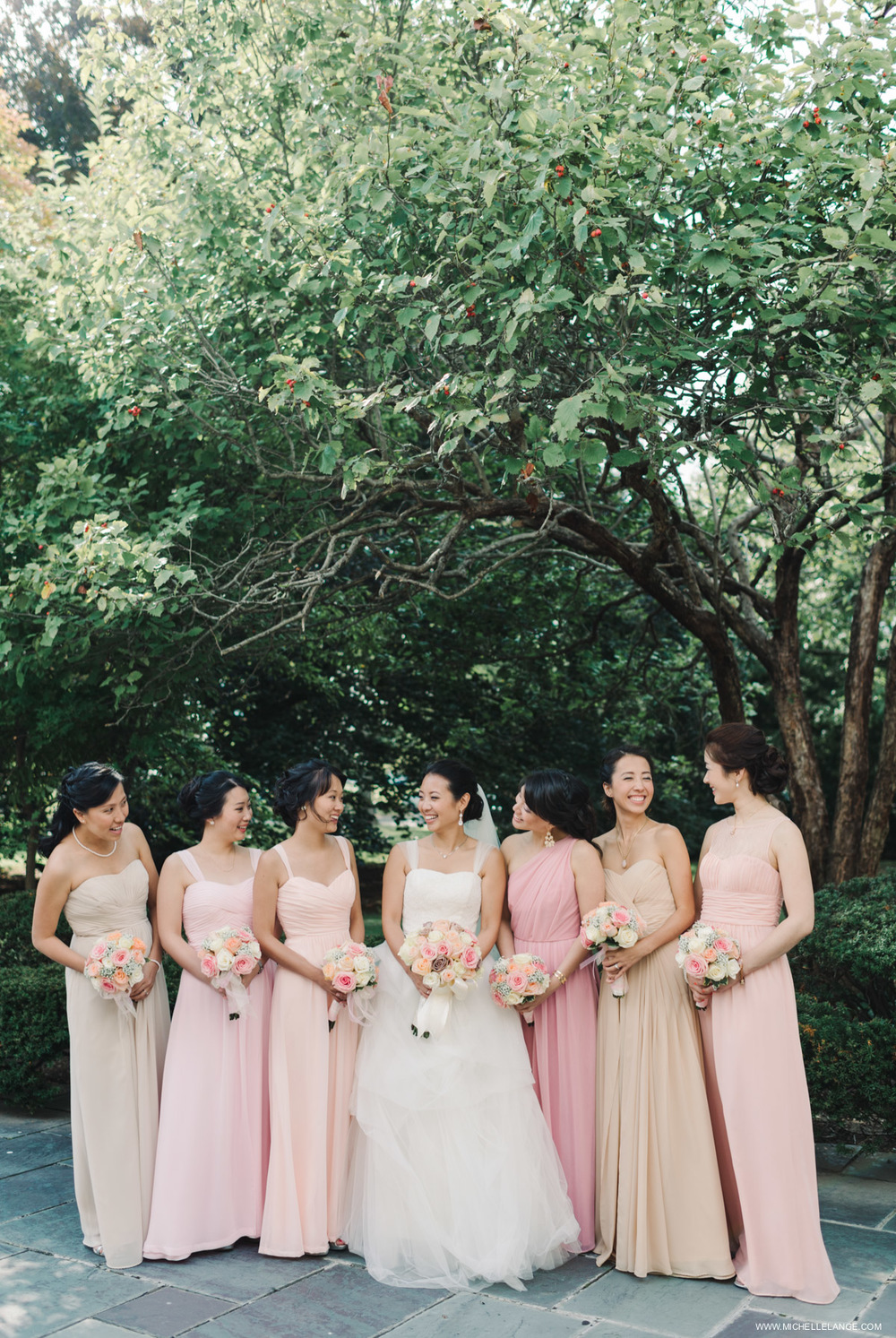 Mismatched Bridesmaids Dresses at The Carltun in Long Island