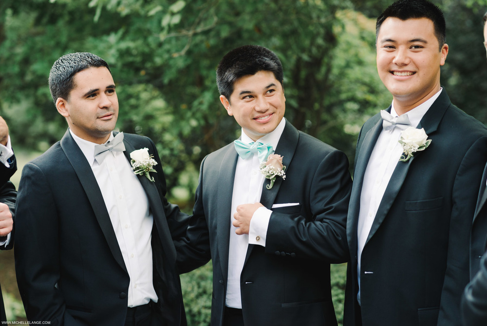 Groomsmen in Blue Bow Ties at The Carltun