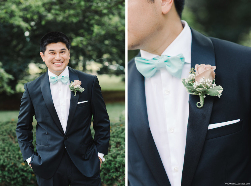 Groom in Blue Bowtie at The Carltun Long Island