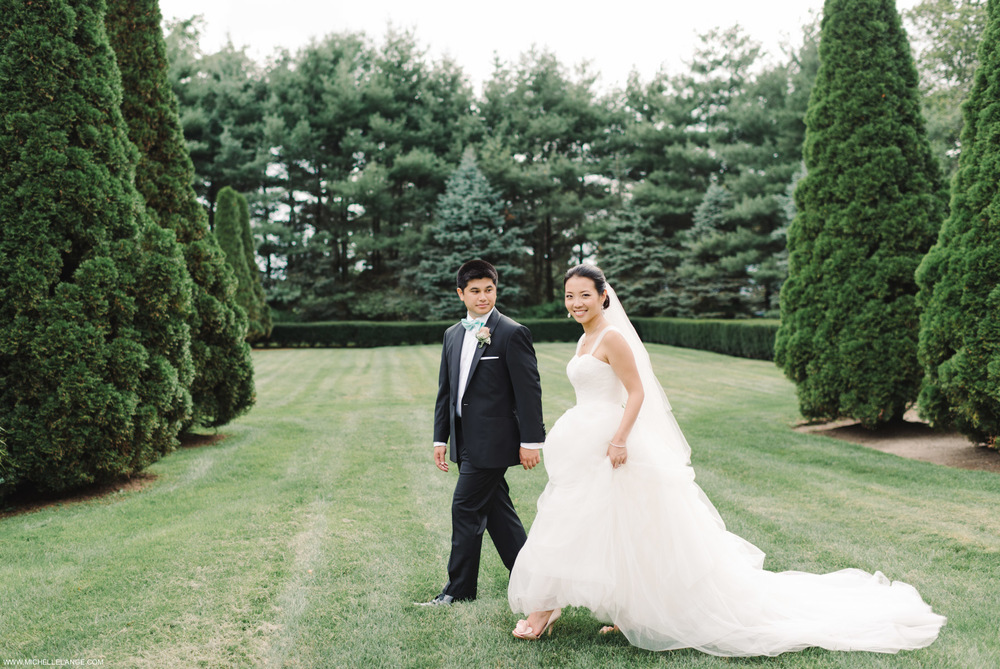 Bride and Groom in the Garden at The Carltun in New York Wedding Photographer