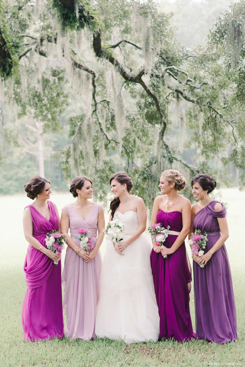 Purple Bridesmaids Charleston Runnymede Plantation Wedding