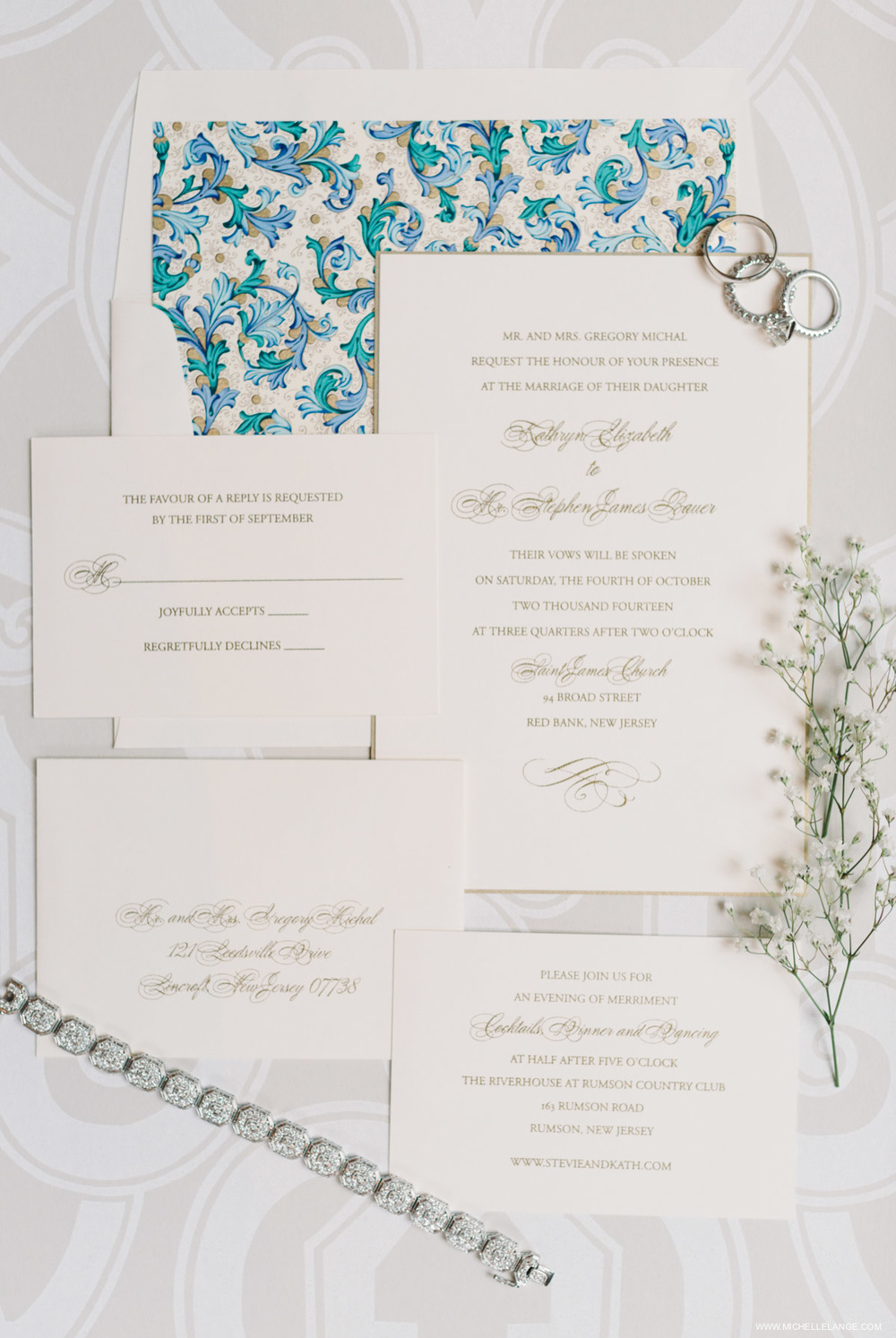 Elegant Invitation Suite Riverhouse at Rumson Country Club Wedding