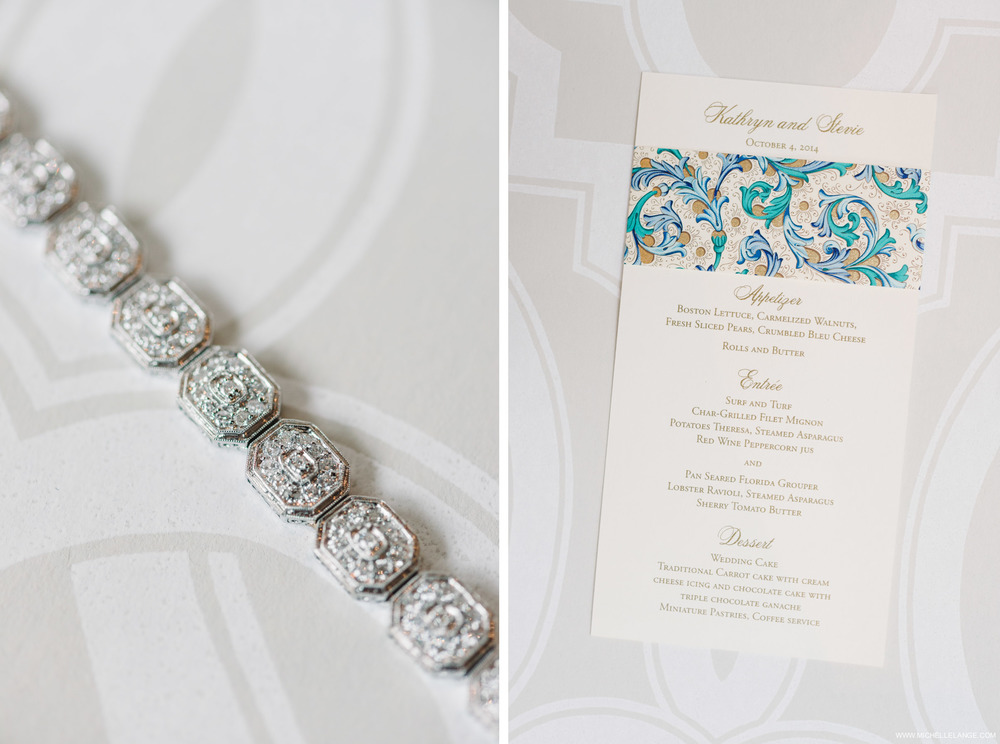 Menu and Brides Bracelet Riverhouse at Rumson Country Club Wedding