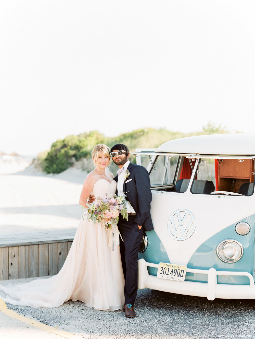 NJ Wedding Photographer at Hotel Icona in Cape May with Vintage VW Bus