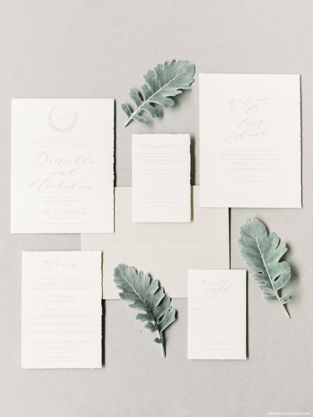 NY Wedding Photographer with Linen and Leaf Invitation