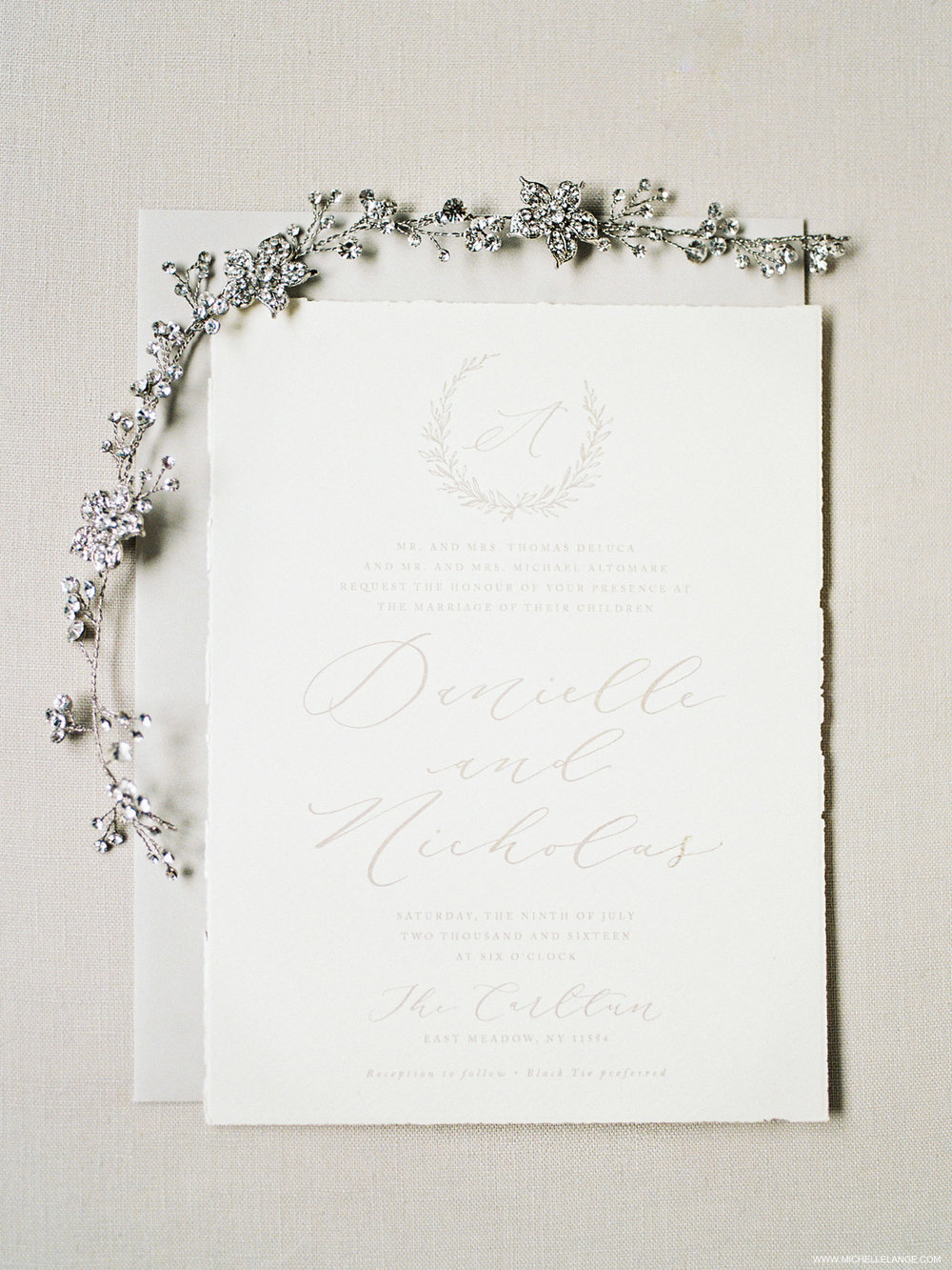 NY Wedding Photographer with Linen and Leaf Invitations