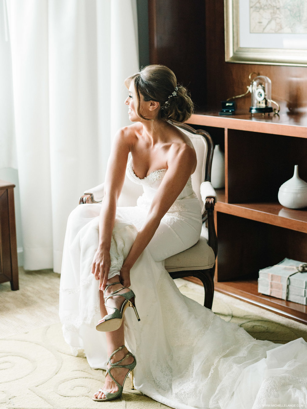 NY Wedding Photographer with Inbal Dror Wedding Dress and Jimmy Choo Shoes