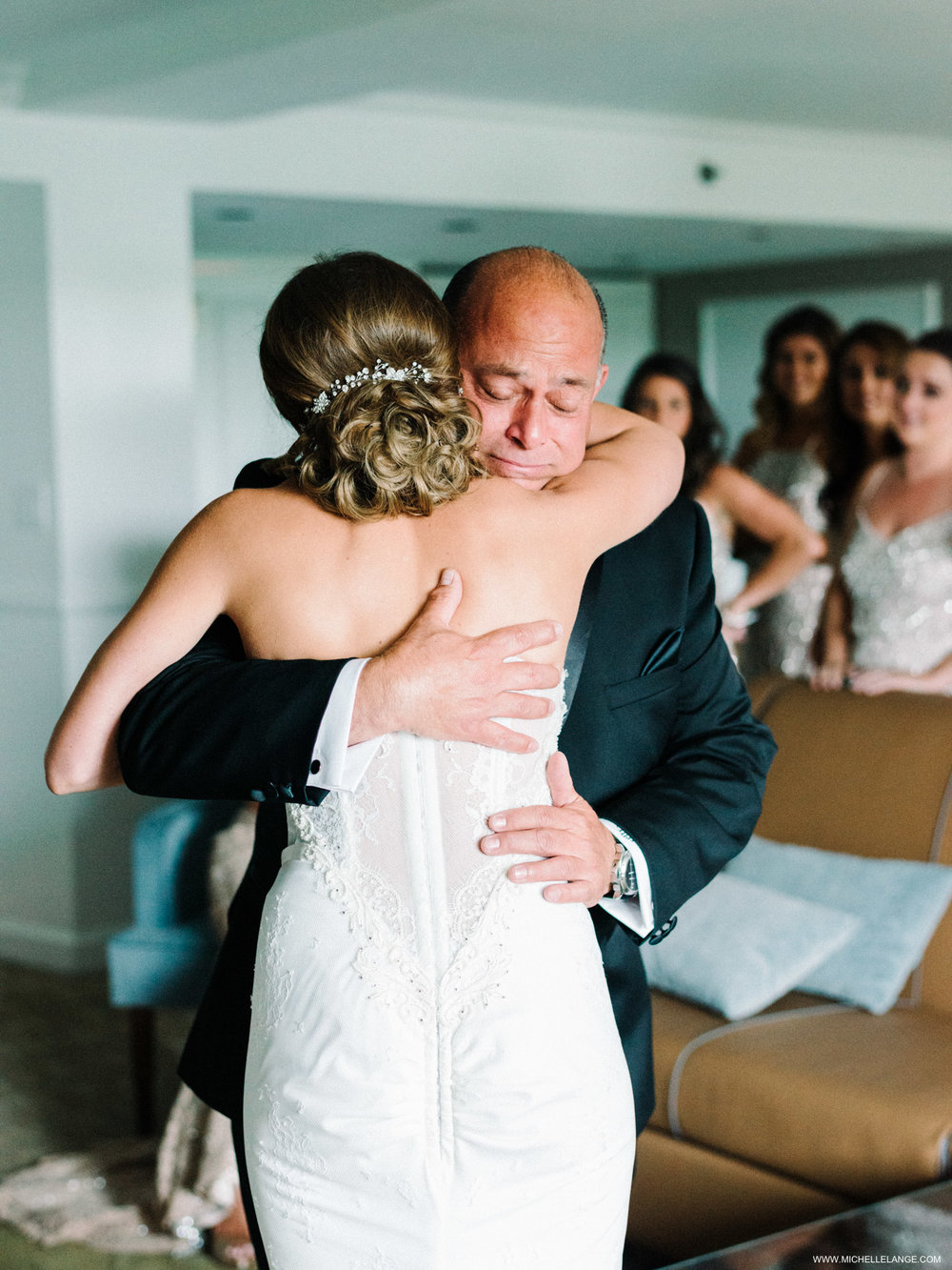 NY Wedding Photographer with Father of the Bride Hug