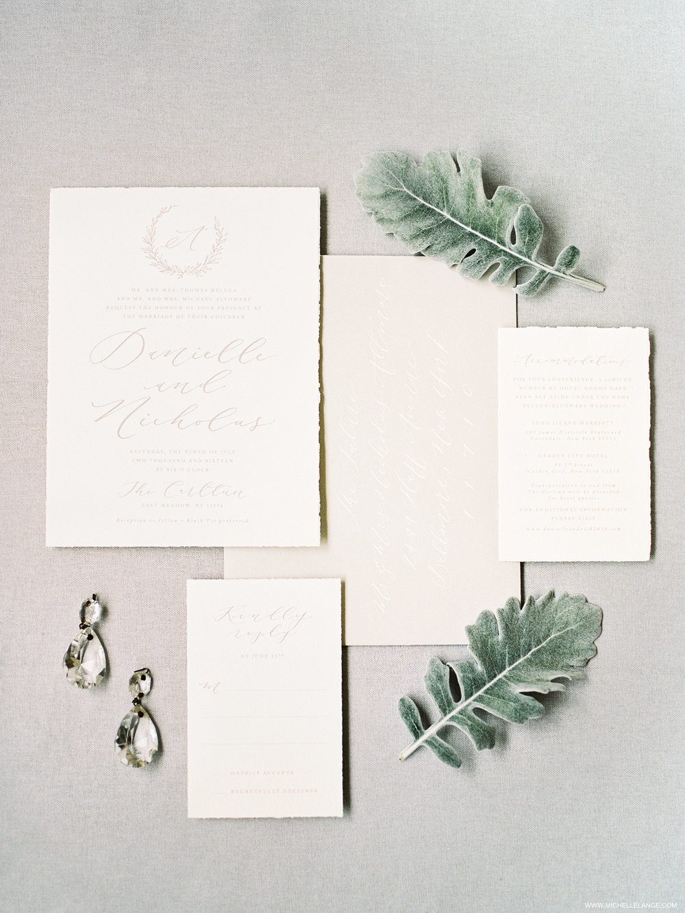 NY Wedding Photographer with Linen and Leaf Wedding Invitations