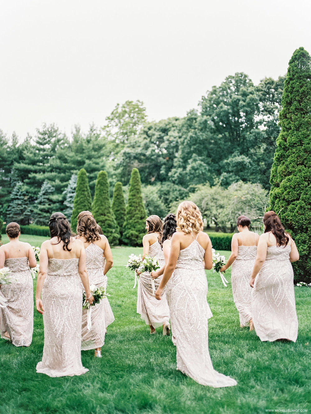 NY Wedding Photographer with Adrianna Papell Bridesmaids