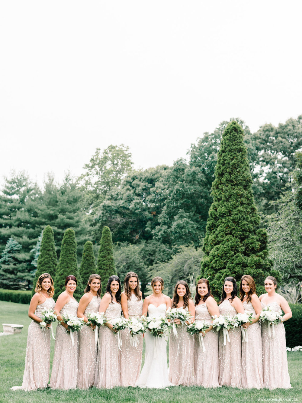 NY Wedding Photographer with Bridesmaids in Adrianna Papell