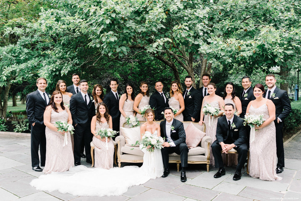 NY Wedding Photographer with Bridal Party at The Carltun on Dovetail Vintage Rental