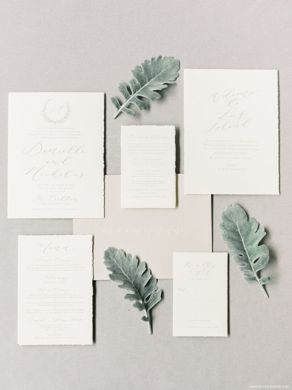 NY Wedding Photographer at The Carltun in Long Island NY with Linen and Leaf Calligraphy