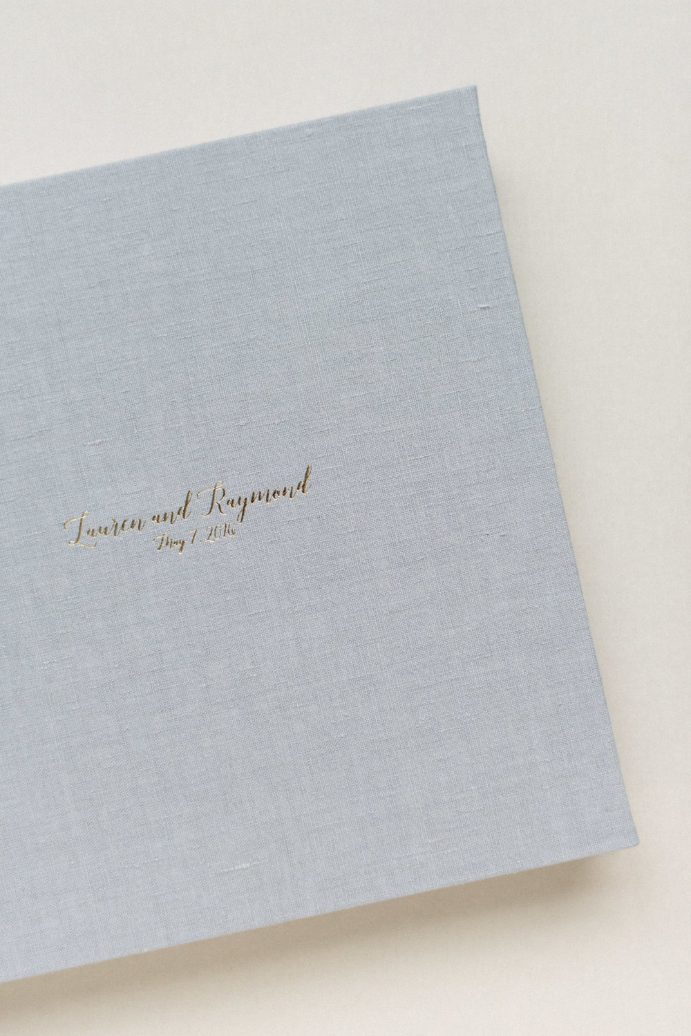 NJ Wedding Photographer Fine Art Luxe Linen Wedding Album with Gold Foil