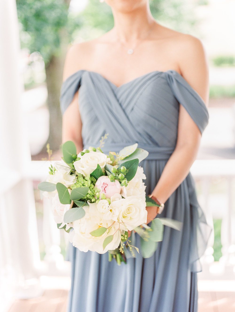 Manchester Vermont Wedding Off Shoulder Bridesmaid Dress in Blue