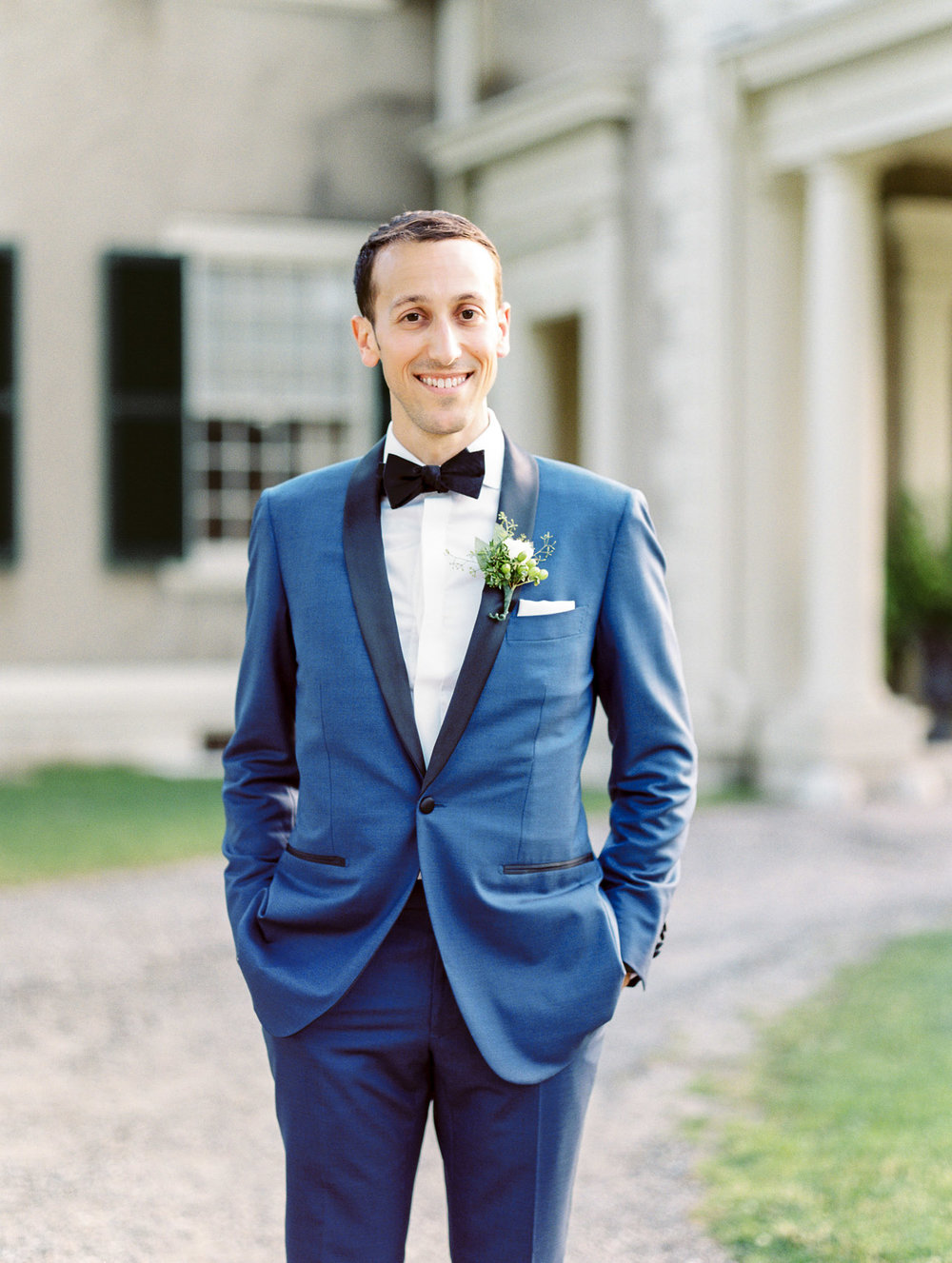 Manchester Vermont Wedding Groom Wearing Blue Suit Supply Tuxedo