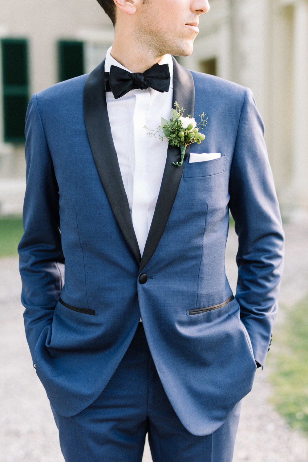 Manchester Vermont Wedding Groom Wearing Blue Suit Supply Tux