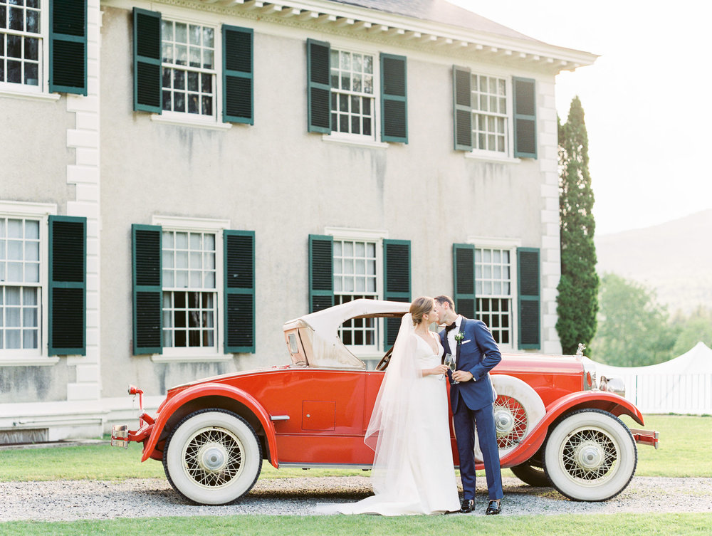Manchester Vermont Wedding Vintage Red Car at Hildene Estate