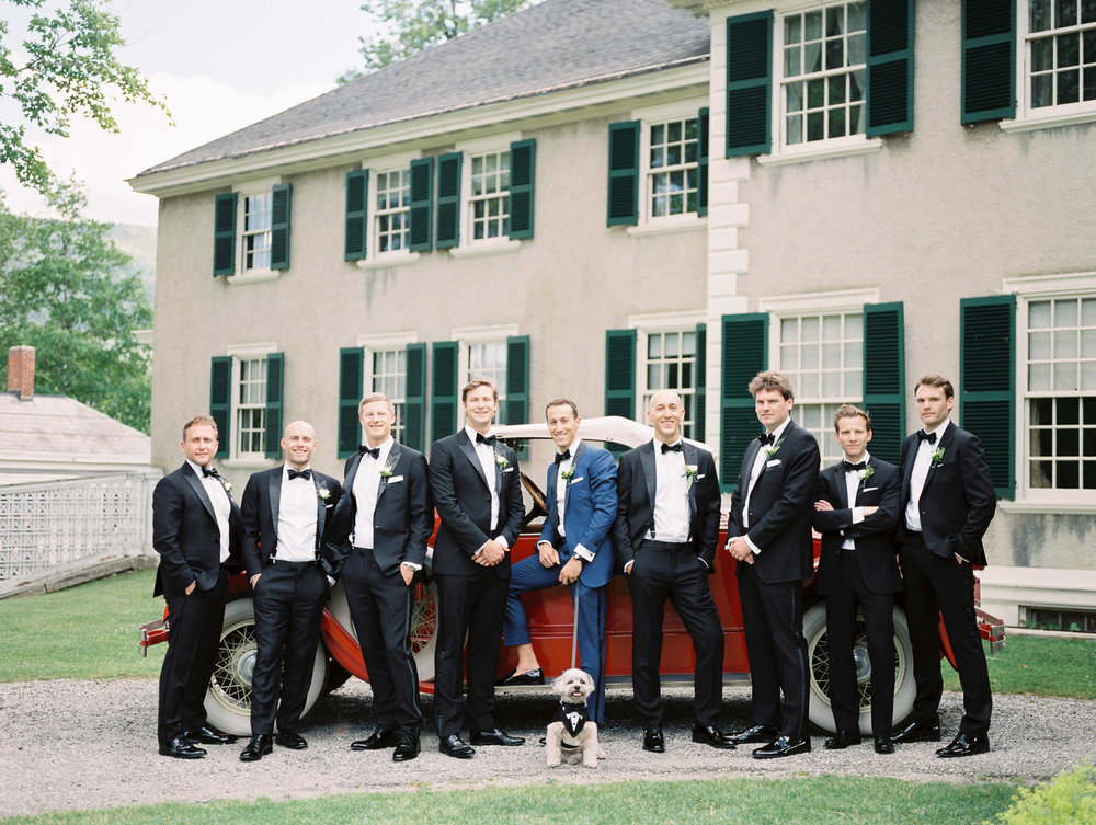 Manchester Vermont Wedding Groomsmen with Vintage Car