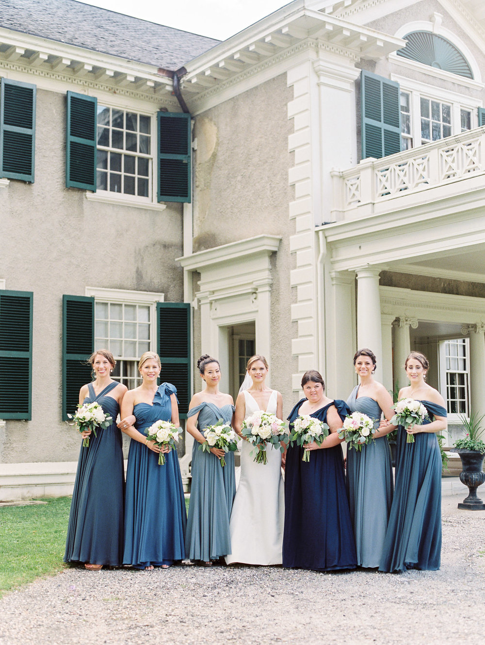 Manchester Vermont Wedding Bridesmaids in Shades of Blue Dresses