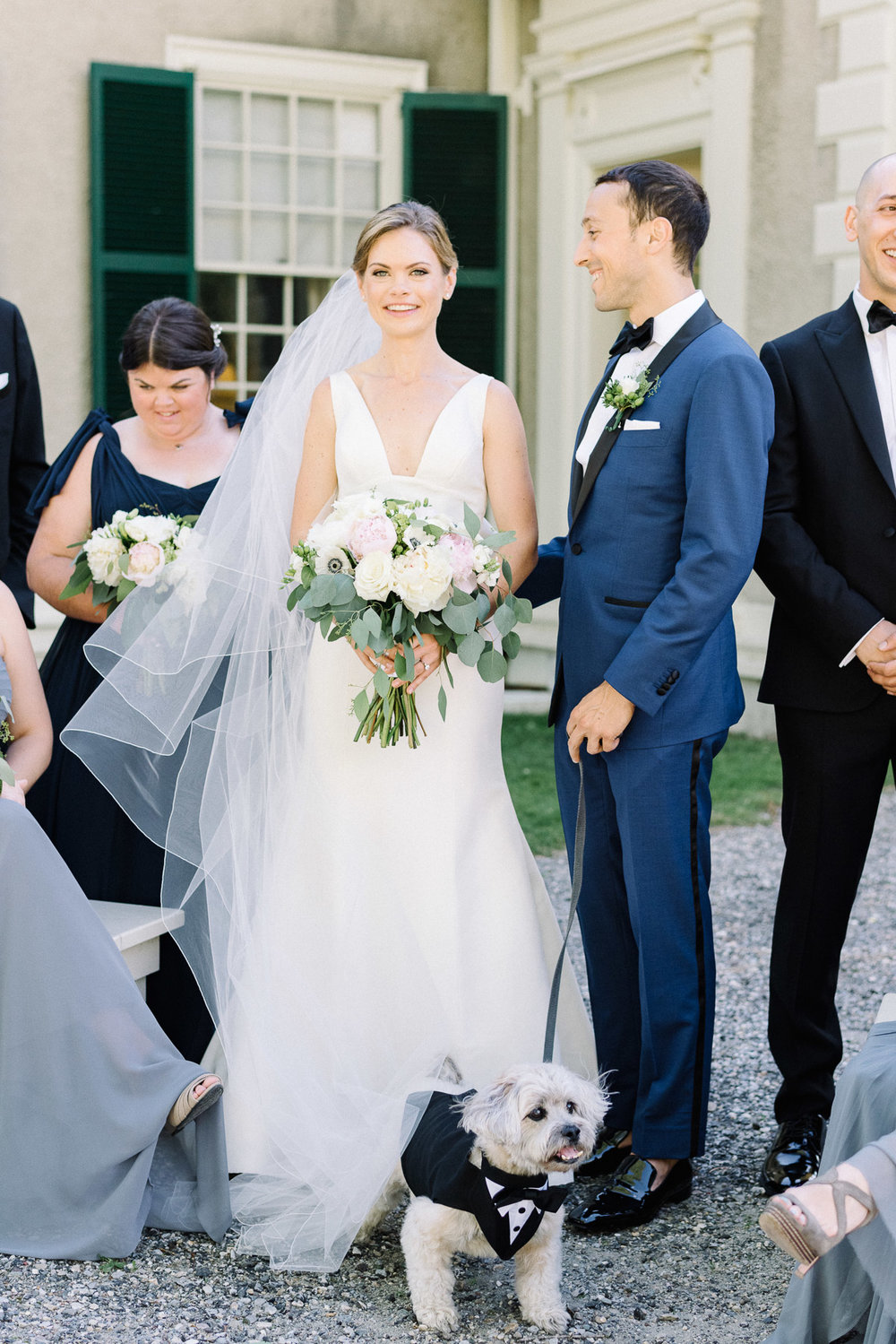 Manchester Vermont Wedding Bride and Groom with Dog