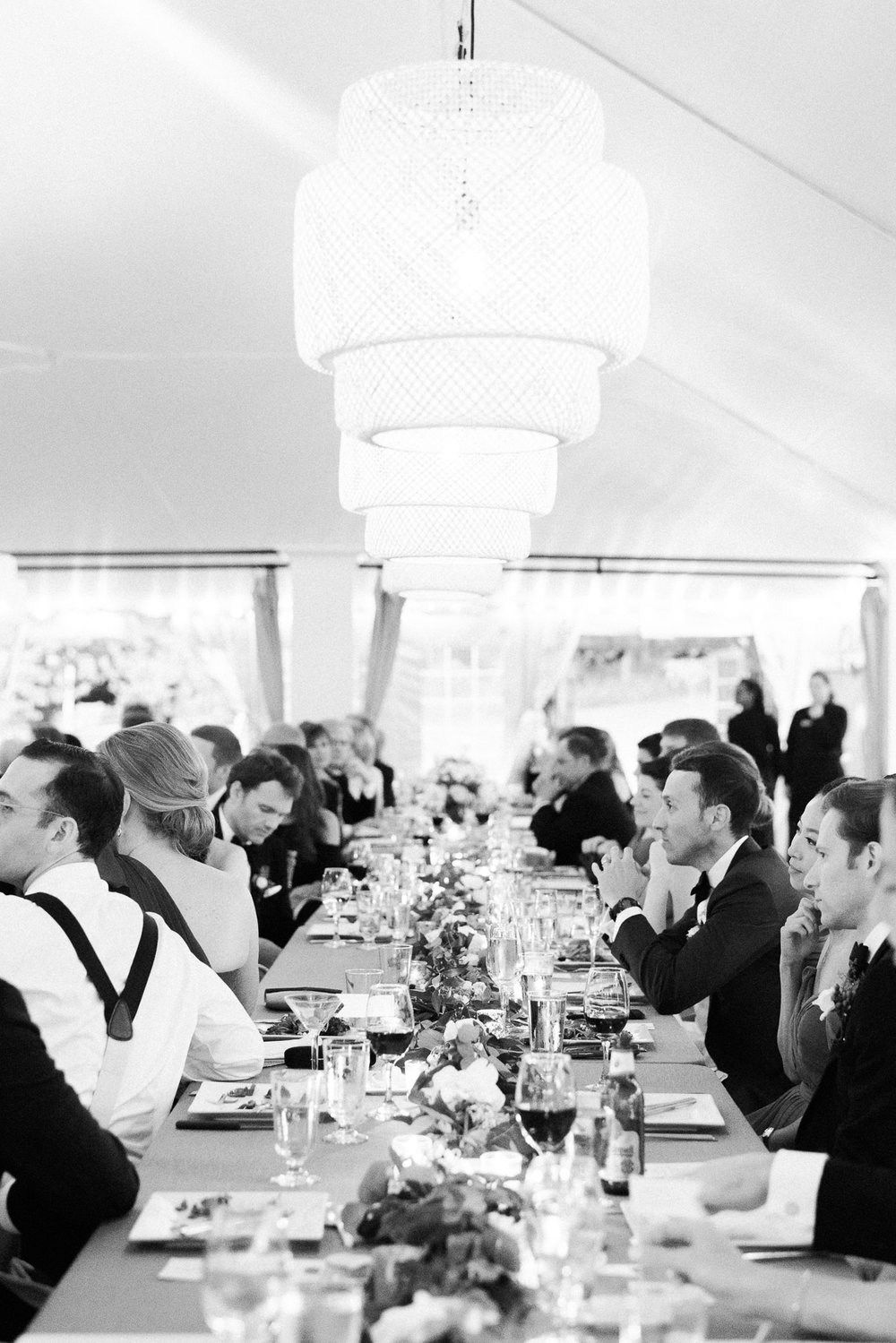 Manchester Vermont Wedding Black and White Tent Photo with Ikea Lights