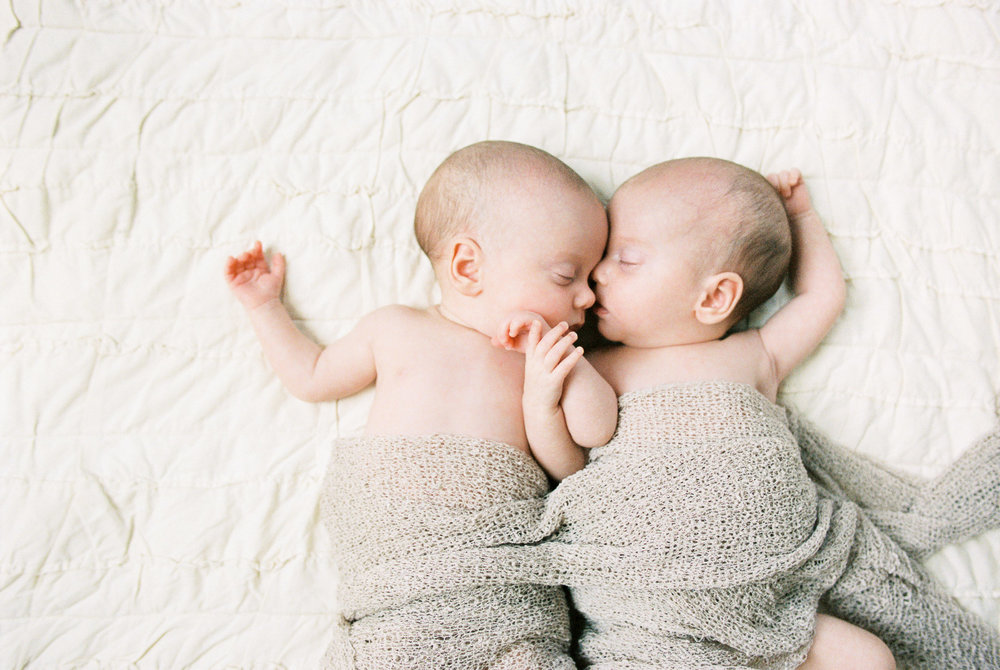 Twins Kissing Newborn Photography