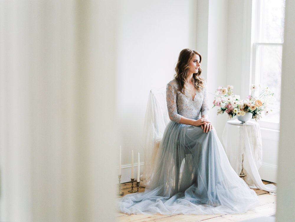 Alexandra Grecco blue wedding gown and Ava Flora bouquet