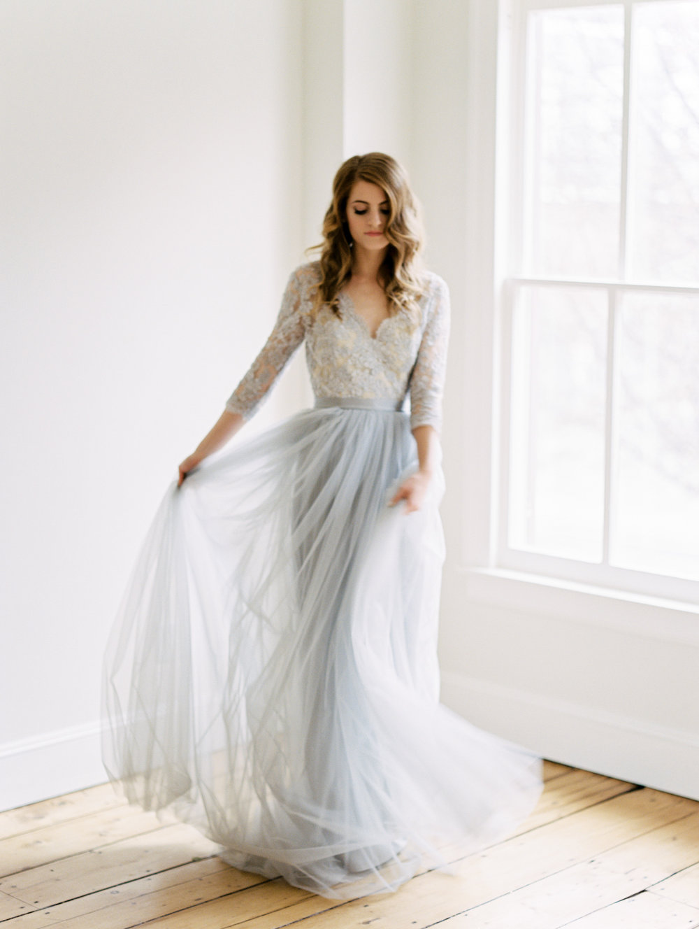 Alexandra Grecco blue wedding gown dancing