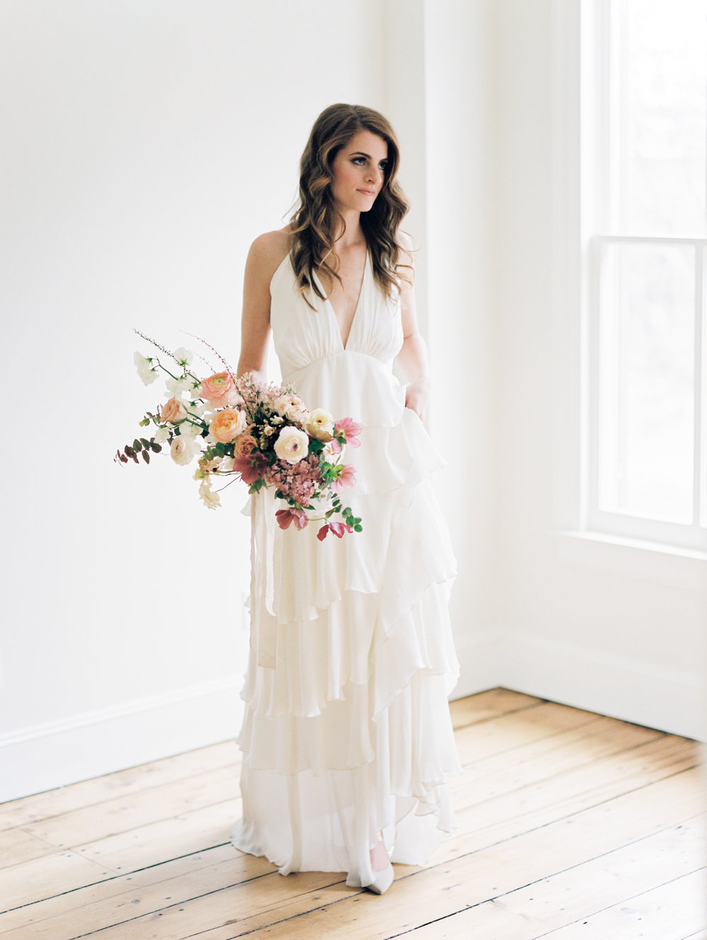 Alexandra Grecco wedding gown and Ava Flora bouquet