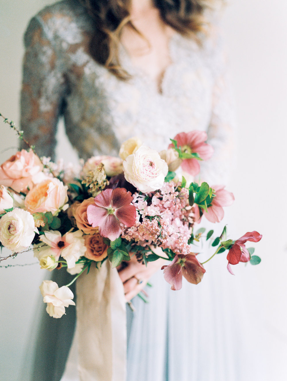 NY wedding photography of spring organic bouquet by Ava Flora and Alexandra Grecco blue wedding gown