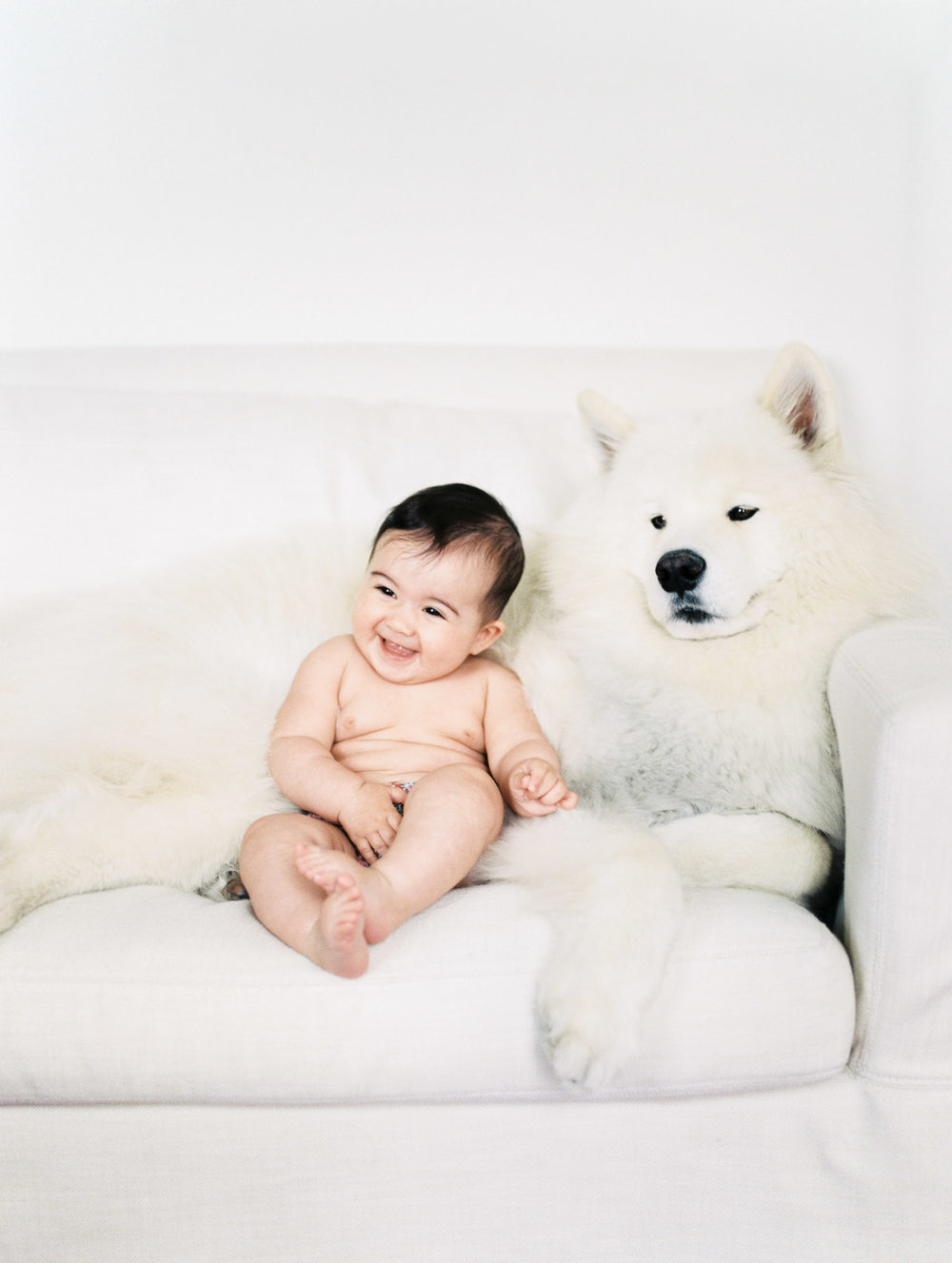 NYC newborn photography of baby and dog