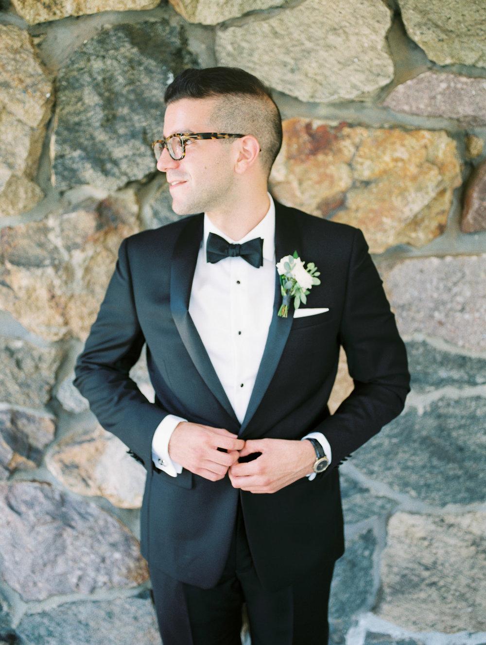 Groom in Calvin Klein Tuxedo
