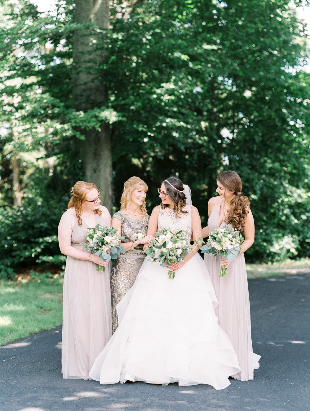 Bridal party in shade of pastel purple Amsale