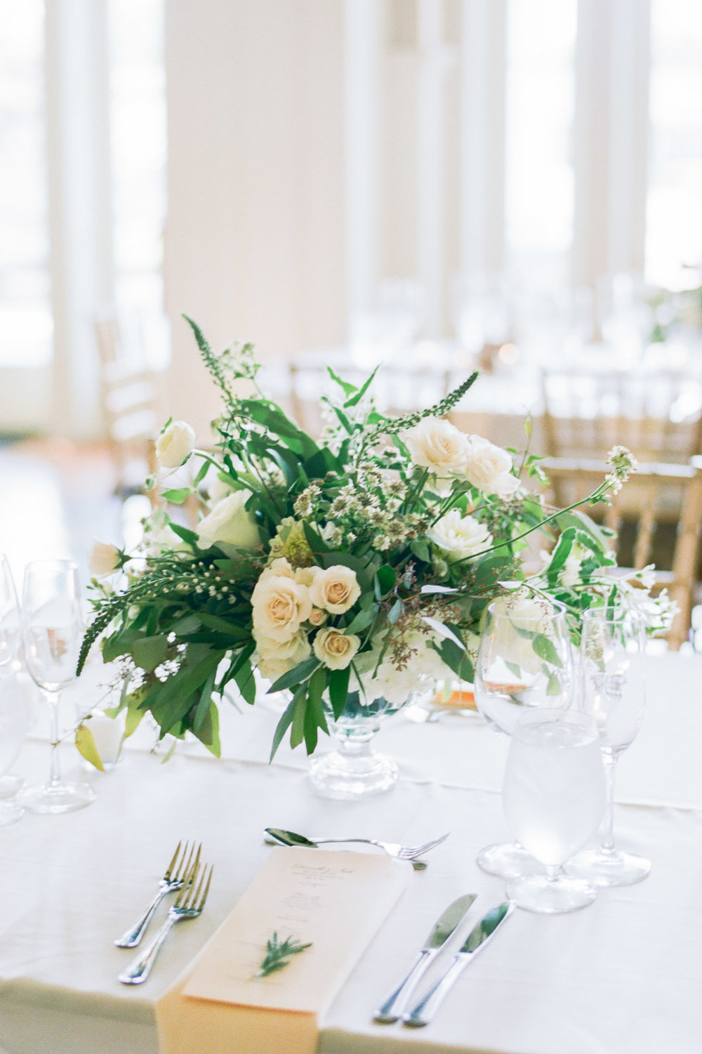 Green and white wedding centerpieces