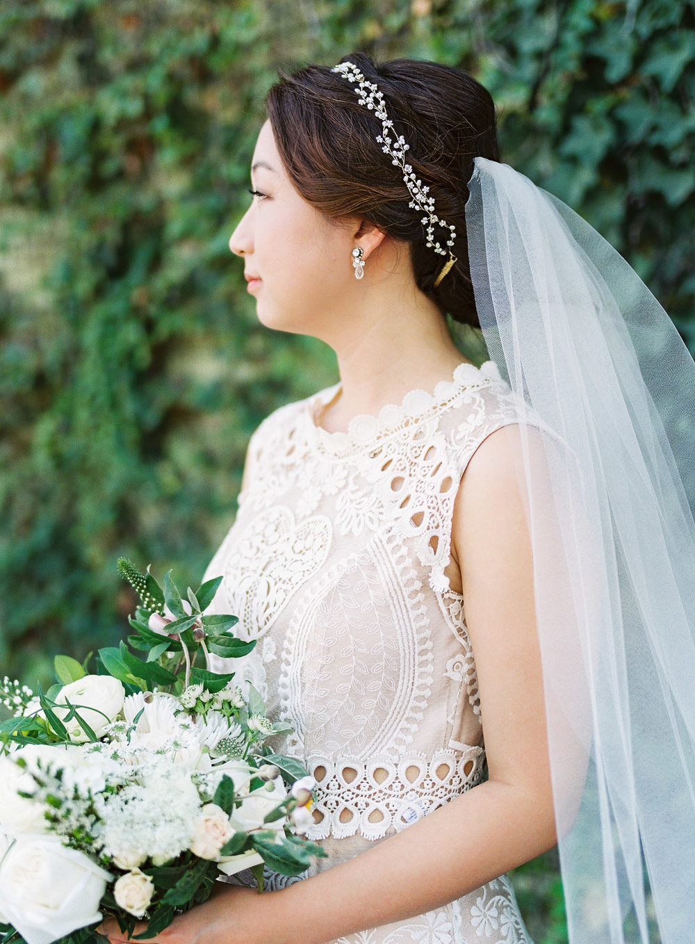 BHLDN Wedding Gown and Hairpiece