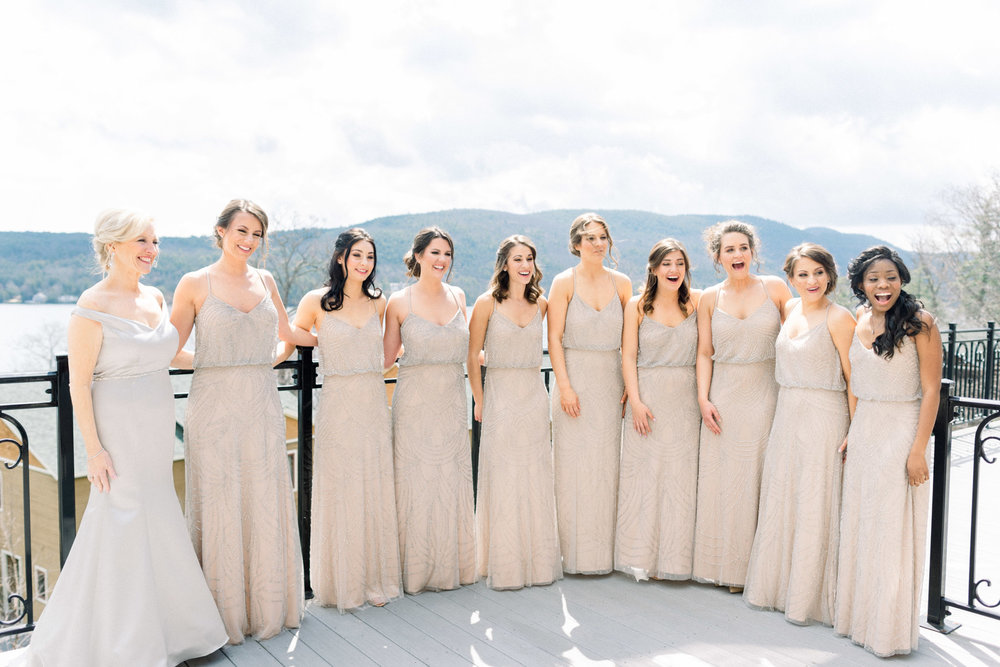 First Look with Bridesmaids at Inn at Erlowest in Lake George, NY