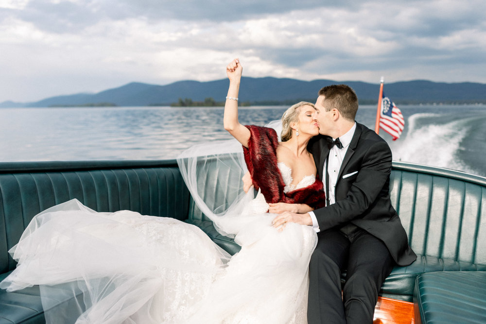 Boat Ride with Wedding Couple at Inn at Erlowest in Lake George, NY