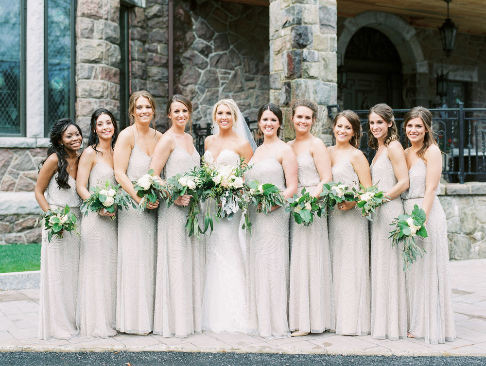 Inbal Dror Wedding Gown and Adrianna Papell Bridesmaids