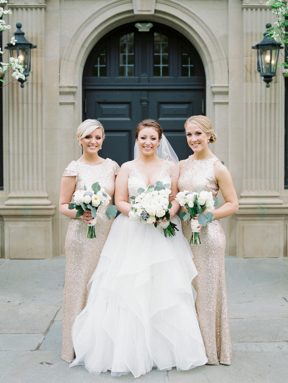 Bridesmaids in Sequin at Natirar Mansion