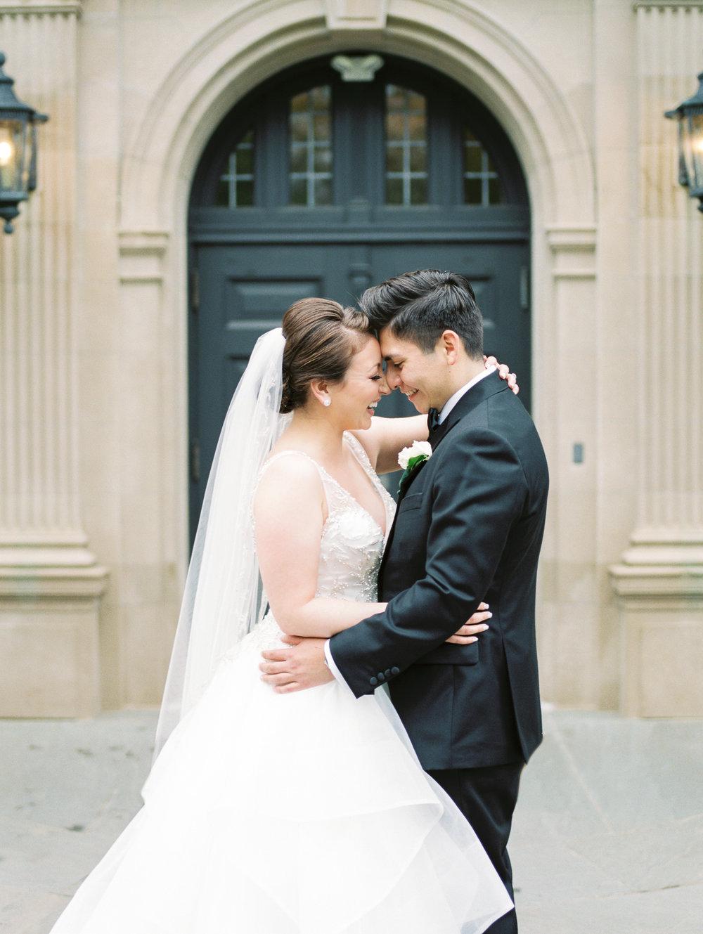 Wedding Couple Laughing at Natirar Mansion in NJ