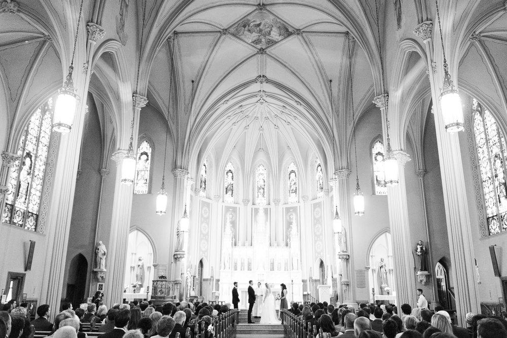 Black and White Wedding Church Ceremony Photo