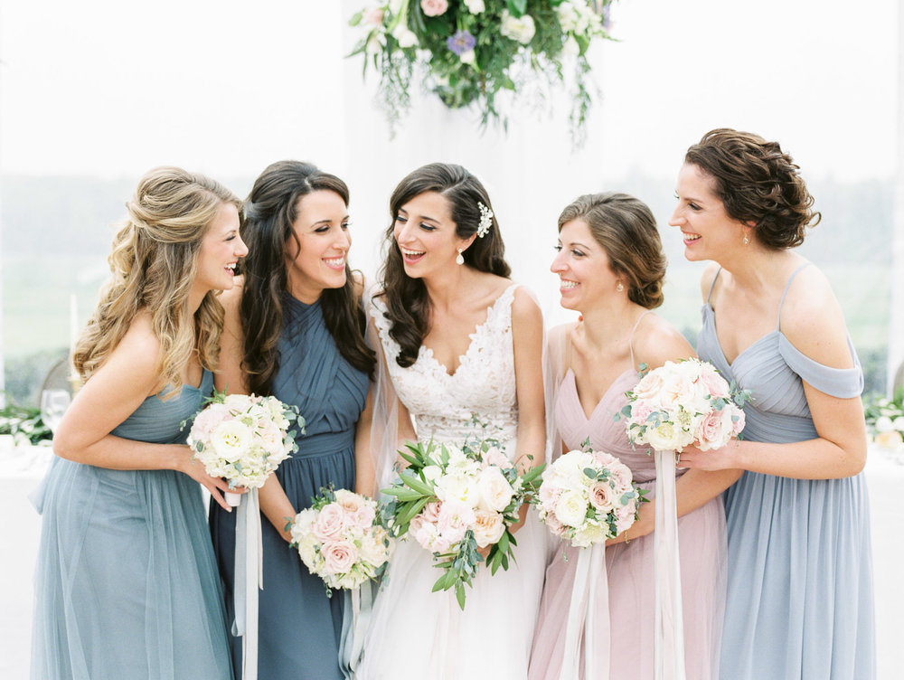 Blush Bridesmaids Wedding Photo